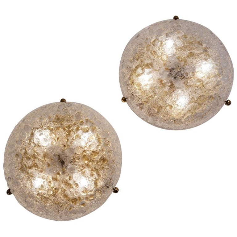 Pair of Brass Flush Lights with Glass Shade by Hillebrand, circa 1970s, German For Sale