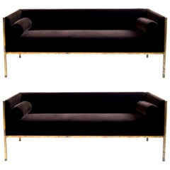 Pair of Brass Frame Sofas
