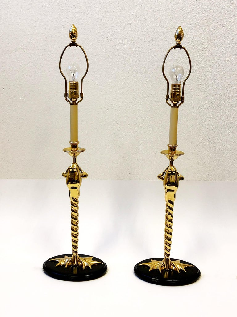 American Pair of Brass Frog Table Lamps by Chapman Lighting For Sale