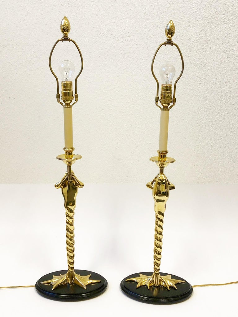 Lacquered Pair of Brass Frog Table Lamps by Chapman Lighting For Sale