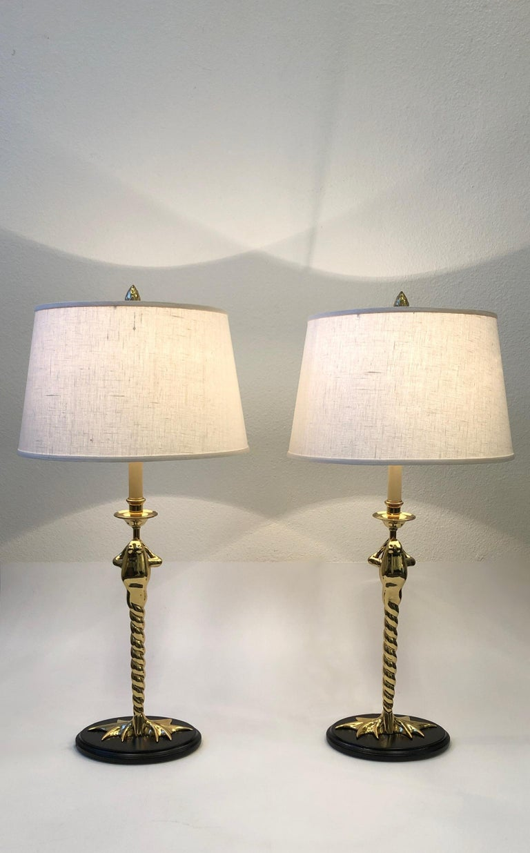 Late 20th Century Pair of Brass Frog Table Lamps by Chapman Lighting For Sale