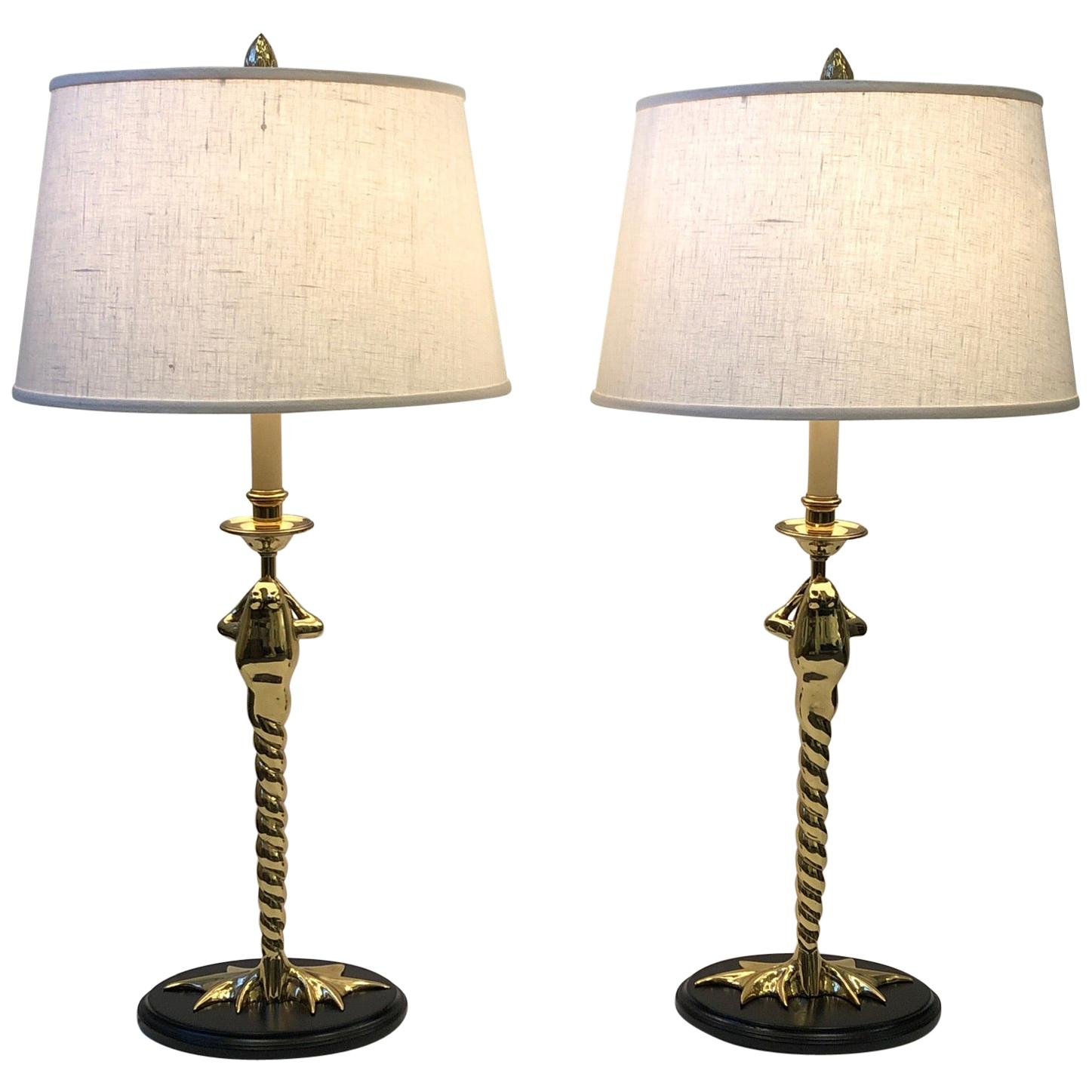 Pair of Brass Frog Table Lamps by Chapman Lighting