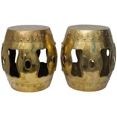 Pair of Brass Garden Stools
