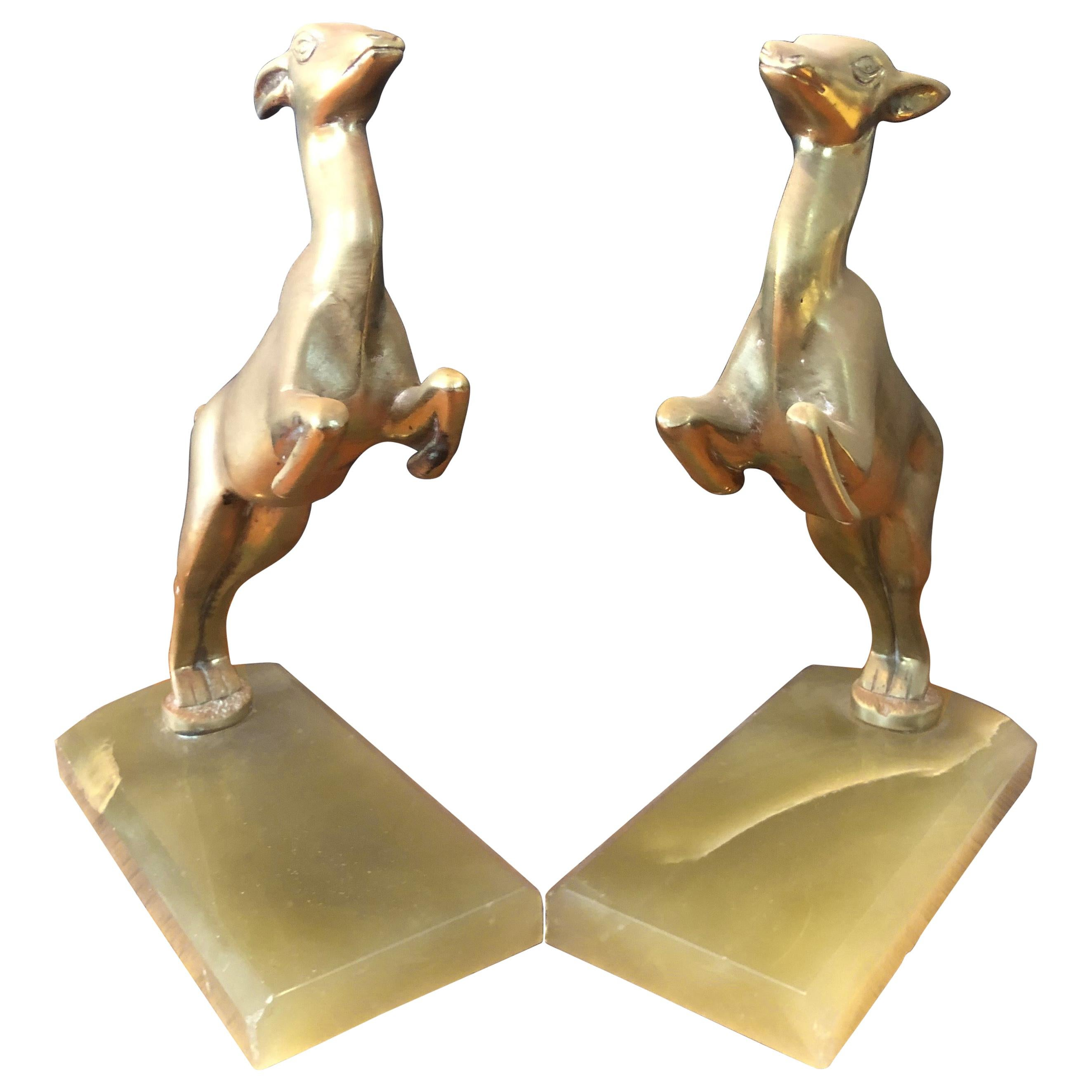 Pair of Brass Gazelle Bookends on Marble Base