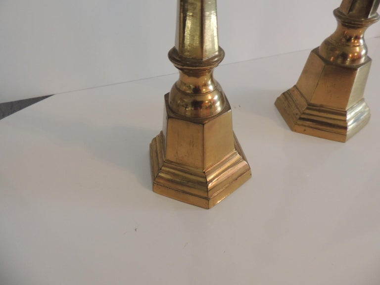 Bohemian Pair of Brass German Vintage Candlesticks For Sale