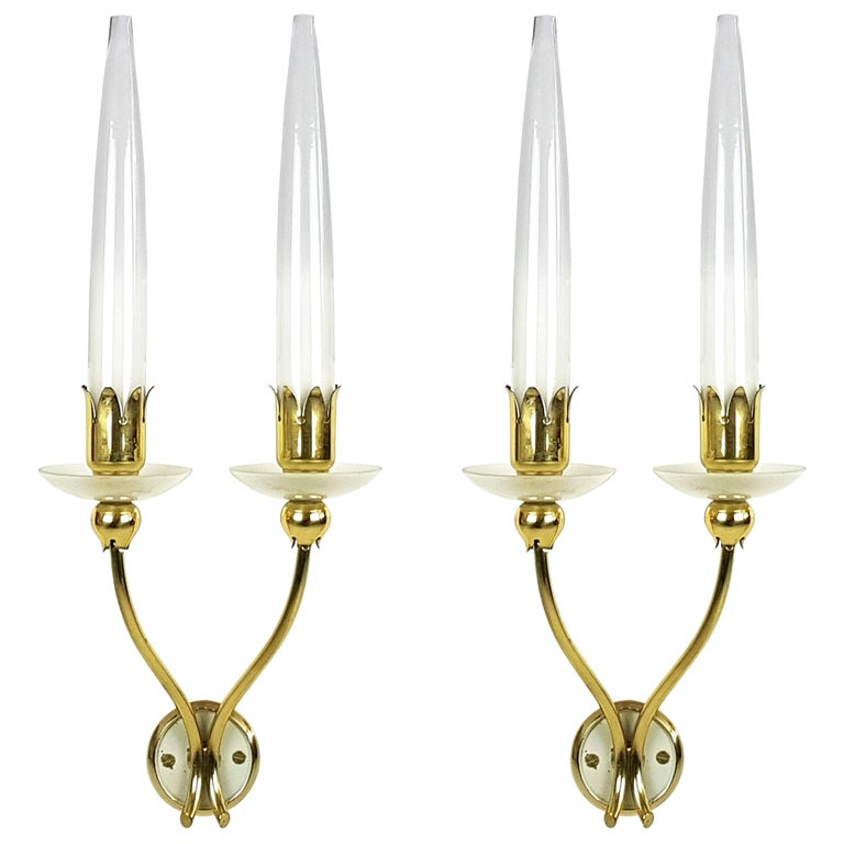 Pair of Brass & Glass 2-Light 1950 Wall Fixtures by Angelo Lelii for Arredoluce For Sale