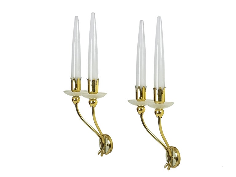 Italian Pair of Brass & Glass 2-Light 1950 Wall Fixtures by Angelo Lelii for Arredoluce For Sale