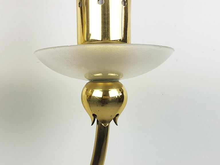 Mid-20th Century Pair of Brass & Glass 2-Light 1950 Wall Fixtures by Angelo Lelii for Arredoluce For Sale