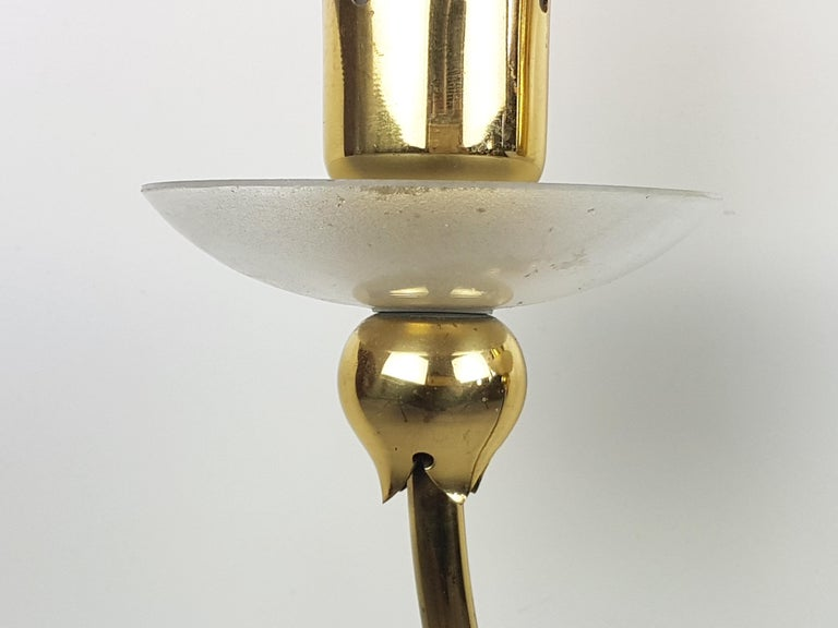 Pair of Brass & Glass 2-Light 1950 Wall Fixtures by Angelo Lelii for Arredoluce For Sale 3