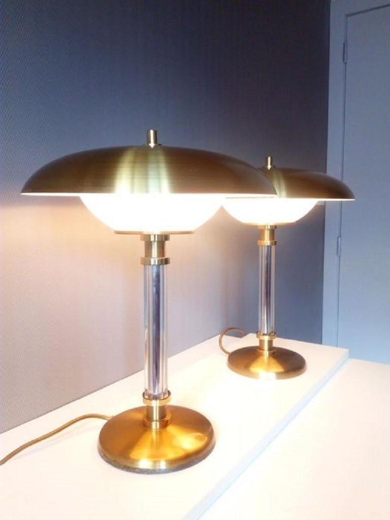 French Pair of Brass Glass Two-Light Tabe Lamps by Maison Lucien Gau, Paris, 1970s For Sale