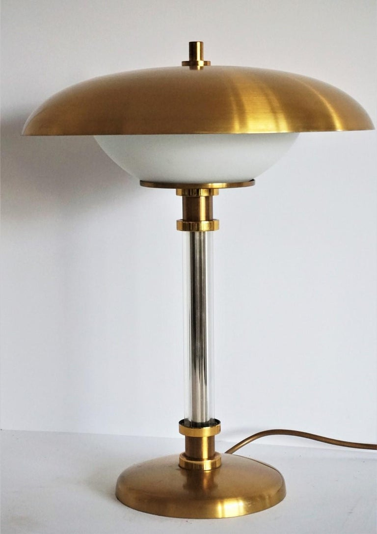 Late 20th Century Pair of Brass Glass Two-Light Tabe Lamps by Maison Lucien Gau, Paris, 1970s For Sale
