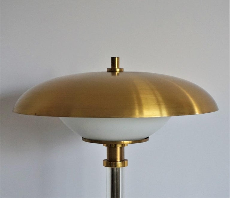 Pair of Brass Glass Two-Light Tabe Lamps by Maison Lucien Gau, Paris, 1970s For Sale 1