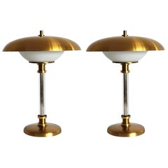 Pair of Brass Glass Two-Light Table Lamps by Maison Lucien Gau, Paris, 1970s