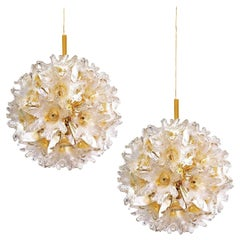 Pair of Brass Gold Murano Glass Sputnik Light Fixtures by Paolo Venini for VeArt