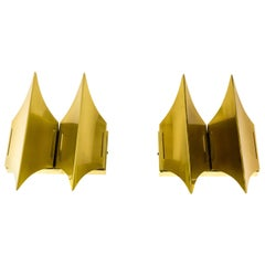 Pair of Brass Gothic II Wall Lamps by Lyfa, 1960s