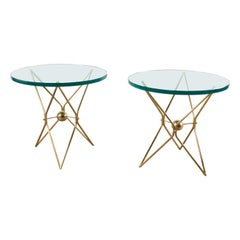 Pair of Brass Gueridons, with Glass Tops, Italy circa 1960