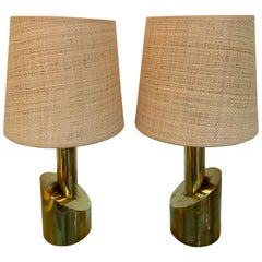 Pair of Brass Half Cylinder Lamps, Italy, 1970s