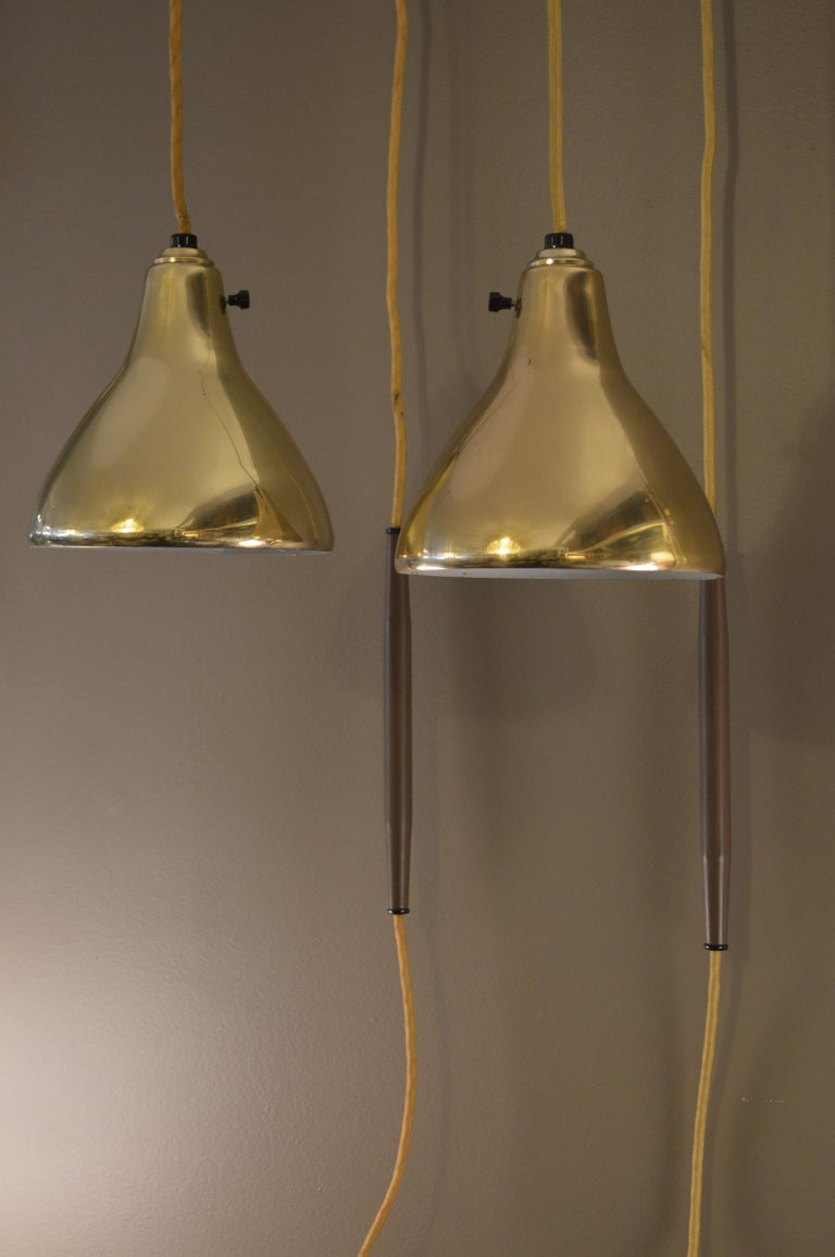 American Pair of Brass Hanging Sconces For Sale