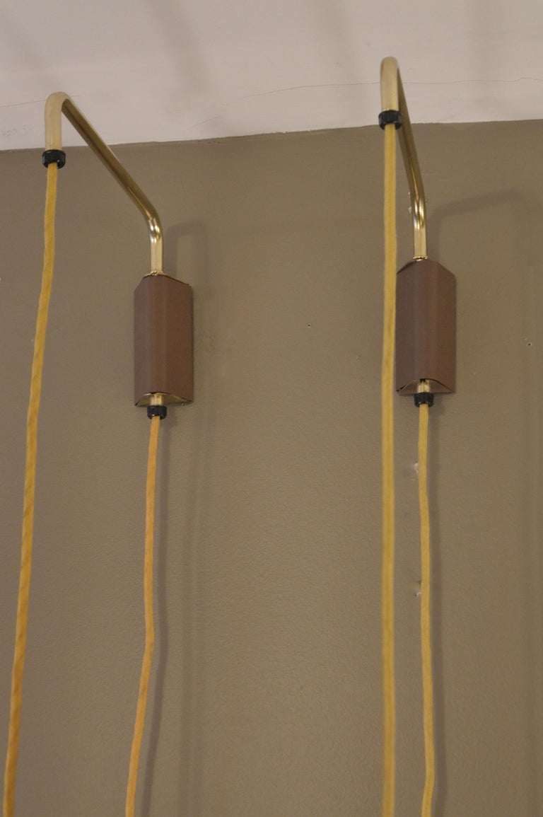 Pair of Brass Hanging Sconces In Good Condition For Sale In Los Angeles, CA