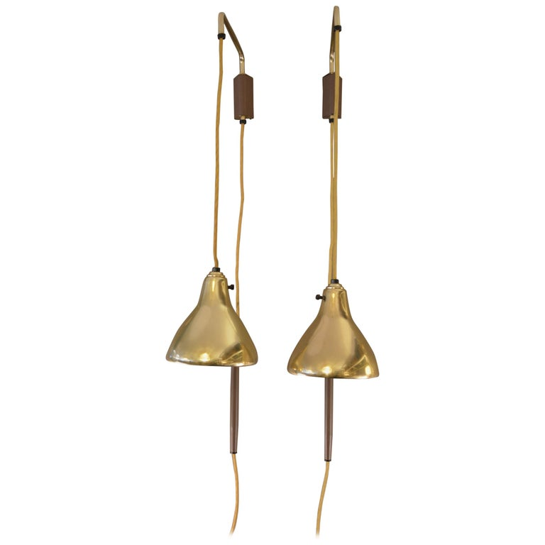 Pair of Brass Hanging Sconces For Sale