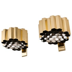 Pair of Brass Honeycomb Wall Sconces / Lamps by Jules Wabbes, Belgium, 1960