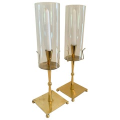 Pair of Brass HurricaneCandle Holders in theStyle of Tommi Parzinger
