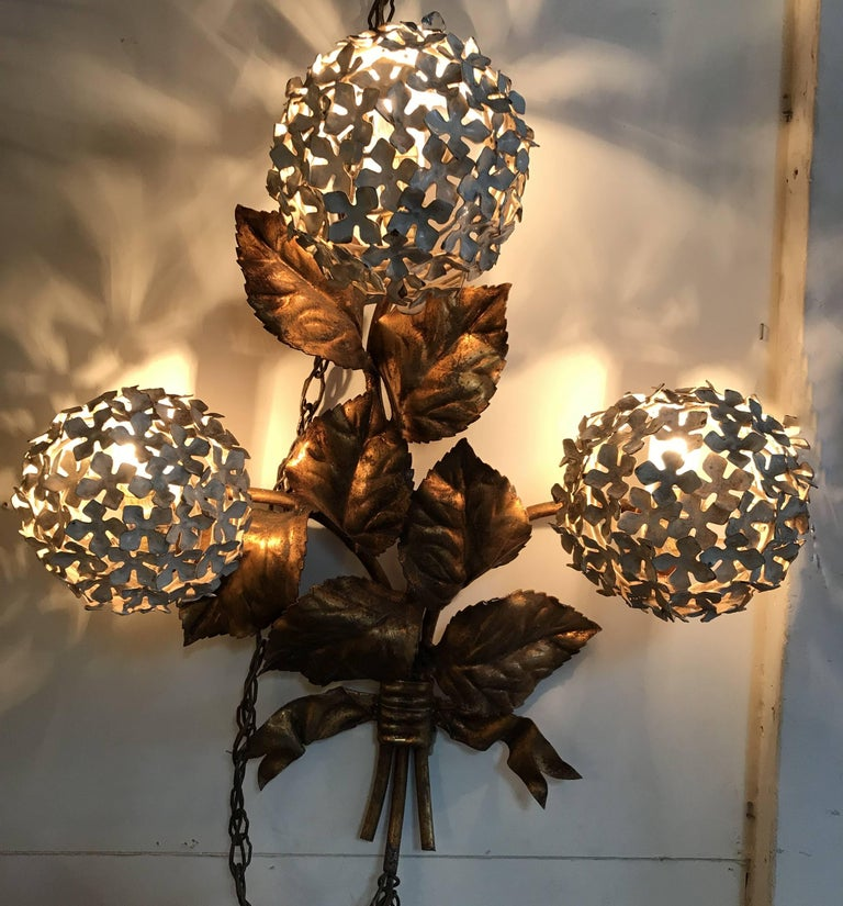 Pair of Brass Hydrangea Wall Sconces by Palladio For Sale 2