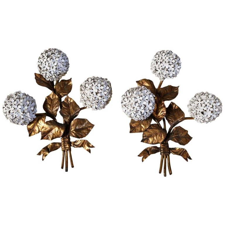 Pair of Brass Hydrangea Wall Sconces by Palladio For Sale