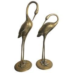 Pair of Brass Ibis Sculptures