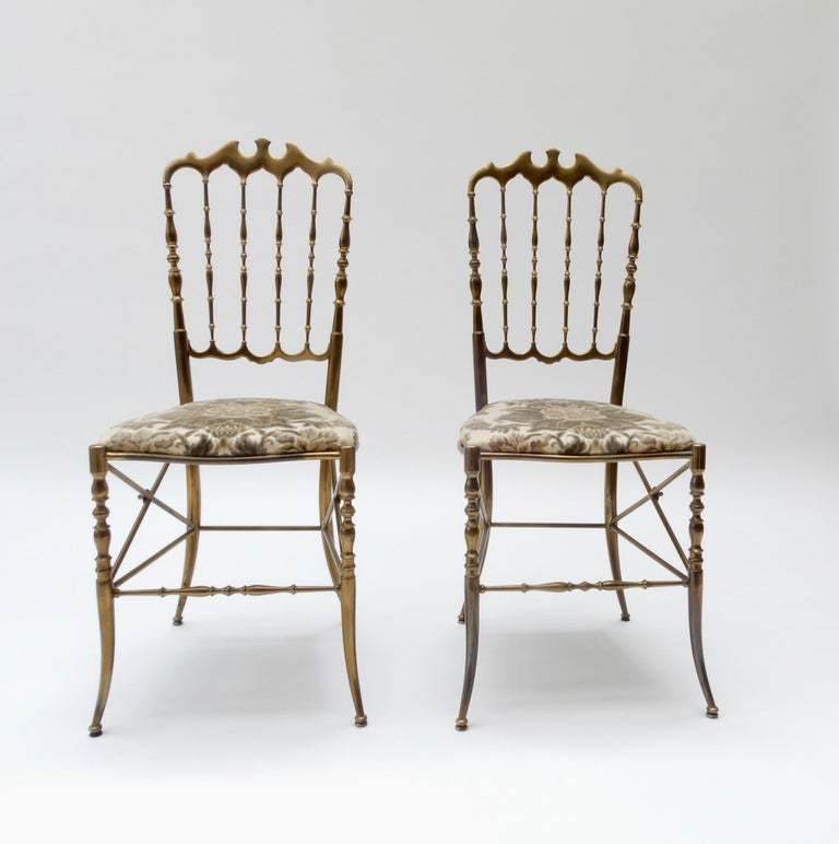 Hollywood Regency Pair of Brass Italian Chairs by Chiavari For Sale