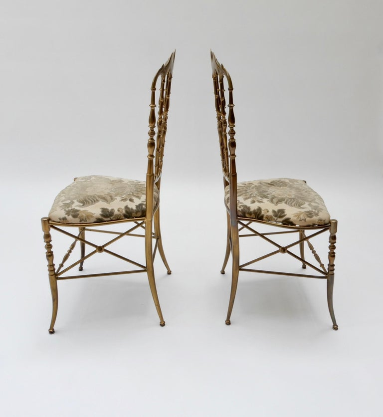 Pair of Brass Italian Chairs by Chiavari In Good Condition For Sale In London, GB