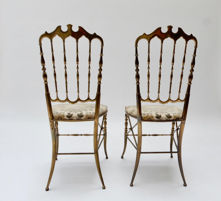 Mid-20th Century Pair of Brass Italian Chairs by Chiavari For Sale