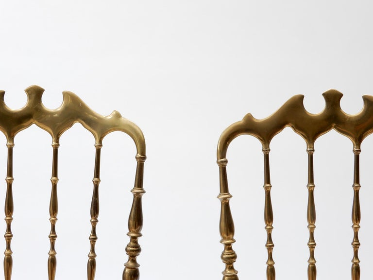 Pair of Brass Italian Chairs by Chiavari For Sale 2