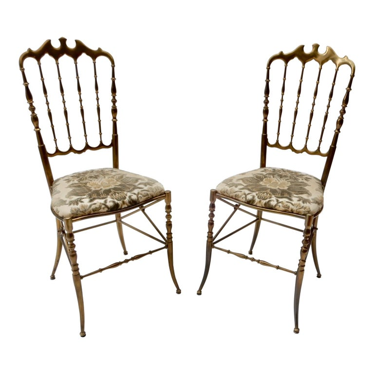 Pair of Brass Italian Chairs by Chiavari For Sale