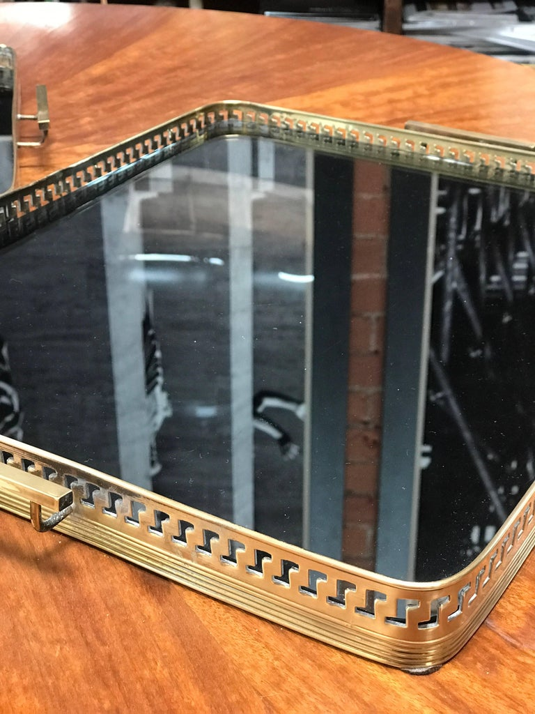 Mid-20th Century Pair of Brass Italian Tray with Smoke Glass Top, 1960s For Sale