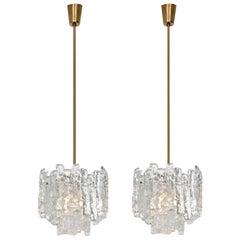 Pair of Brass Kalmar Modern Ice Glass Pedants, 1970