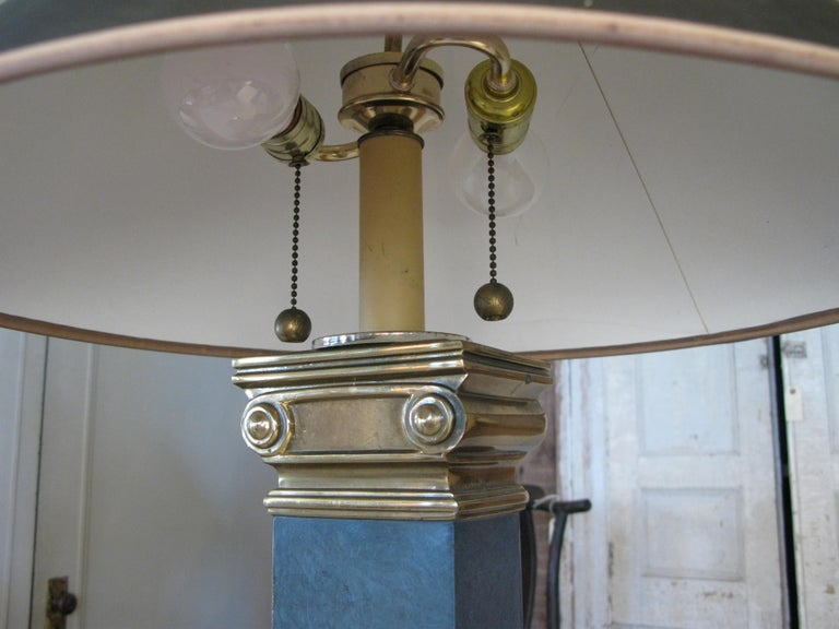 Pair of Brass and Lacquer Column Lamps by Chapman In Good Condition For Sale In Hudson, NY