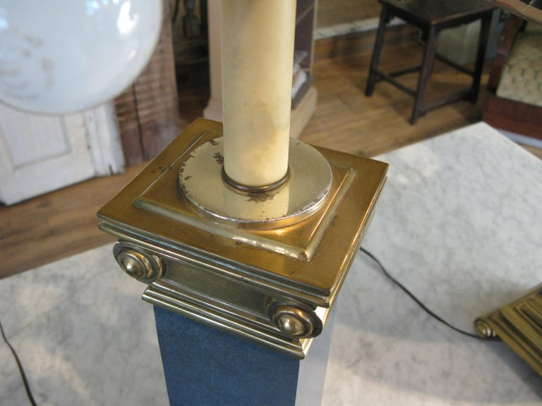 Pair of Brass and Lacquer Column Lamps by Chapman For Sale 3