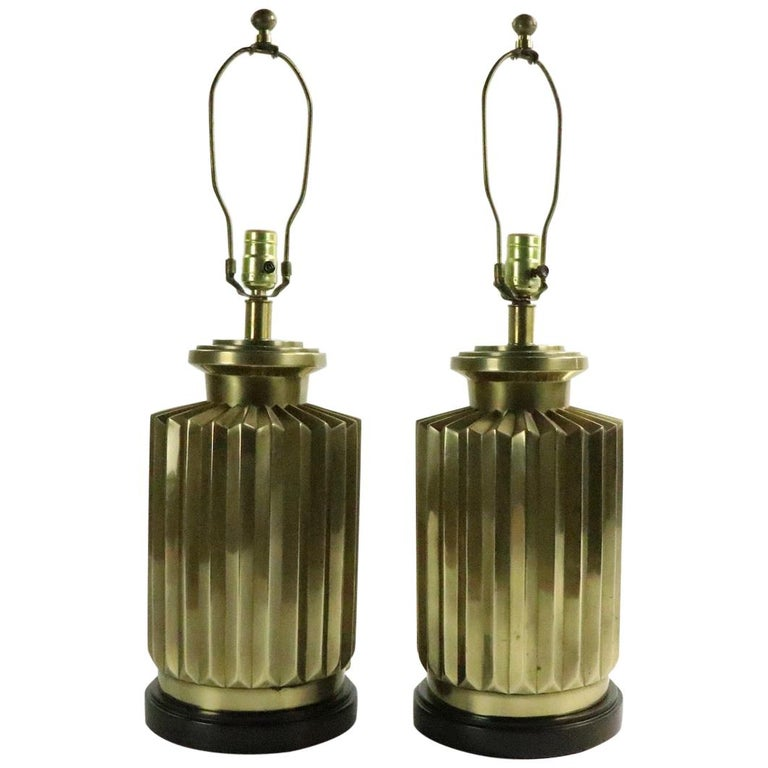 Pair of Brass Lamps by Frederick Cooper For Sale