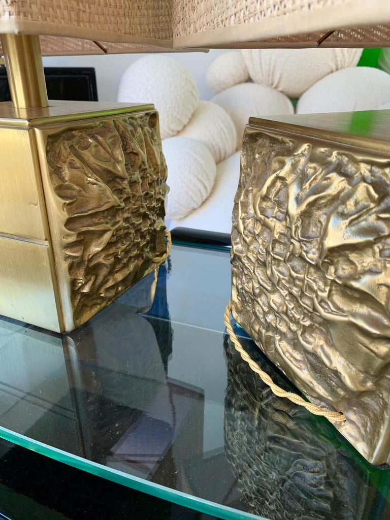 Pair of Brass Lamps by Luciano Frigerio, Italy, 1970s For Sale 5