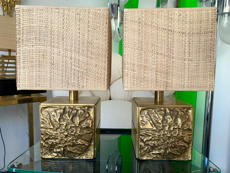 Brutalist Pair of Brass Lamps by Luciano Frigerio, Italy, 1970s For Sale