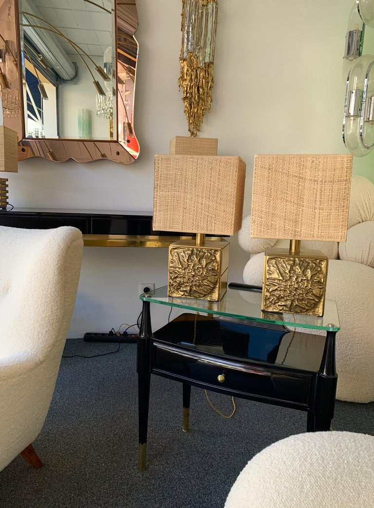 Late 20th Century Pair of Brass Lamps by Luciano Frigerio, Italy, 1970s For Sale