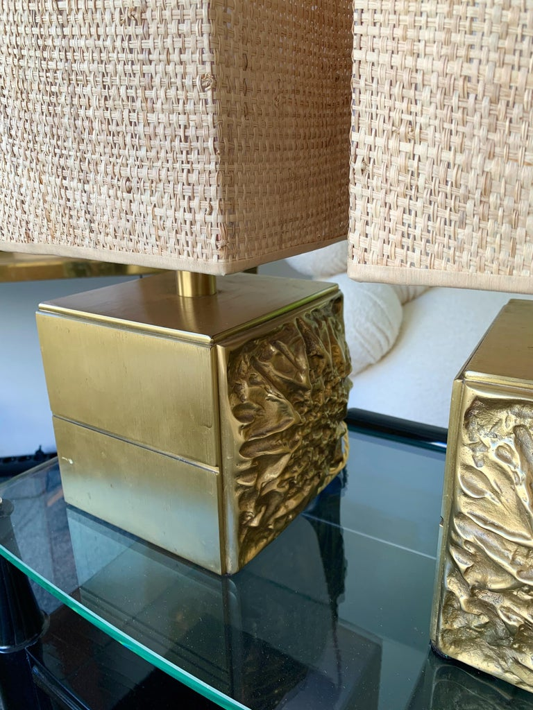Pair of Brass Lamps by Luciano Frigerio, Italy, 1970s For Sale 2