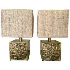Pair of Brass Lamps by Luciano Frigerio, Italy, 1970s