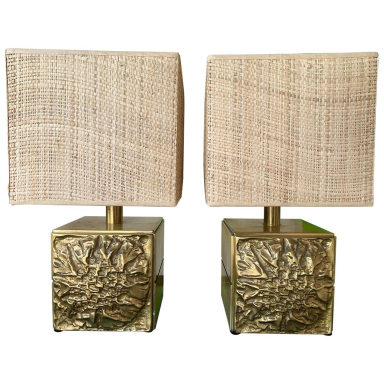 Pair of Brass Lamps by Luciano Frigerio, Italy, 1970s For Sale