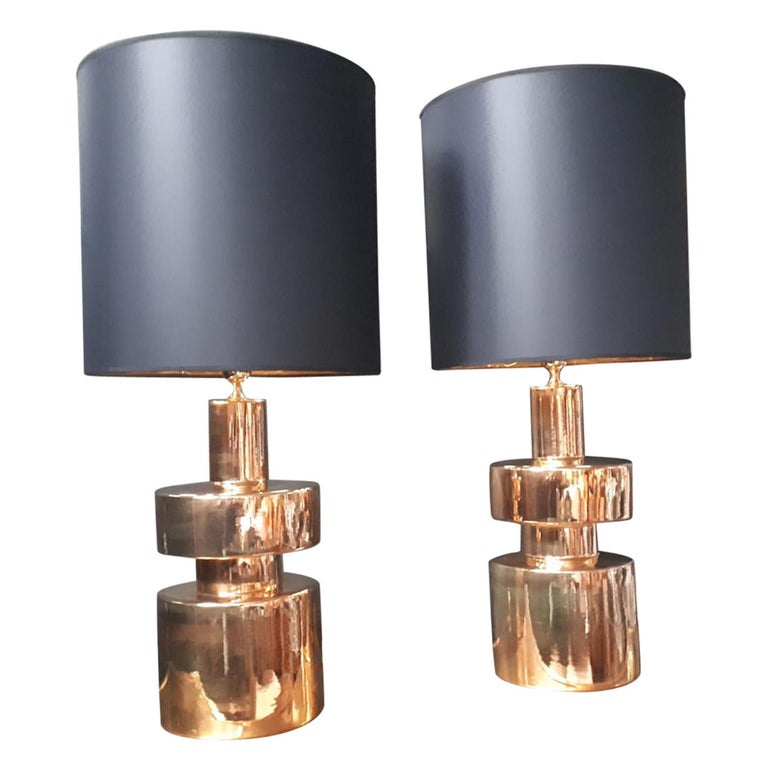 Pair of Brass Lamps, circa 1970, Italy For Sale