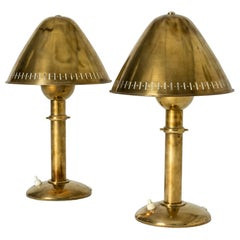 Pair of Brass Lamps from Asea