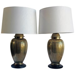 Pair of Brass Lamps on Wood Bases