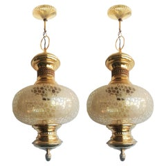 Pair of Brass Pendant and Crystal Globe, Islamic Style