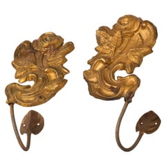 Pair of Brass Large Tie-Backs with Roses